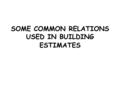 SOME COMMON RELATIONS USED IN BUILDING ESTIMATES.