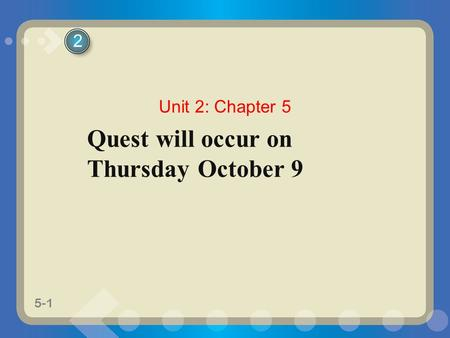 5-1 Quest will occur on Thursday October 9 2 Unit 2: Chapter 5.