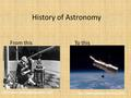 History of Astronomy From this To this