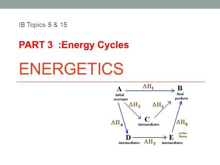 ENERGETICS IB Topics 5 & 15 PART 3 :Energy Cycles.