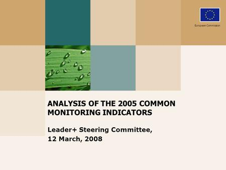 ANALYSIS OF THE 2005 COMMON MONITORING INDICATORS Leader+ Steering Committee, 12 March, 2008 European Commission.