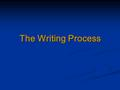The Writing Process. The writing process: Audience & Purpose  Strategy  Build interest if the audience's interest is low.  Provide historic background.