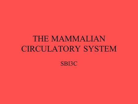 THE MAMMALIAN CIRCULATORY SYSTEM SBI3C. Main Parts of the System Heart (the pump) Vessels (tubes) Blood (transport fluid)