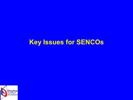 Key Issues for SENCOs. Early identification of need Focus on Foundation Stage Speech, language and communication Social, emotional and behavioural development.