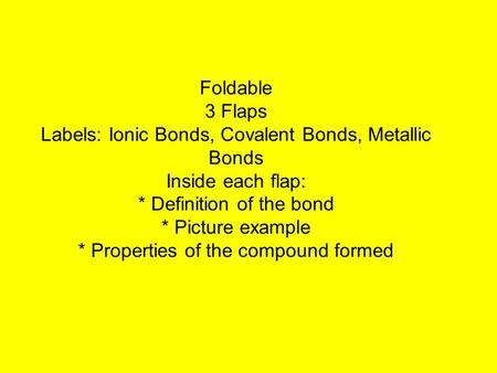 Foldable 3 Flaps Labels: Ionic Bonds, Covalent Bonds, Metallic Bonds Inside each flap: * Definition of the bond * Picture example * Properties of the compound.