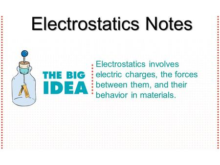 Electrostatics involves electric charges, the forces between them, and their behavior in materials. Electrostatics Notes.