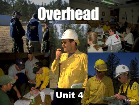 Slide 4-1 Unit 4 Slide 4-1. Slide 4-2 Unit 4 Objectives 1.Mobilize, reassign and demobilize overhead resources in a safe and cost effective manner. 2.Describe.
