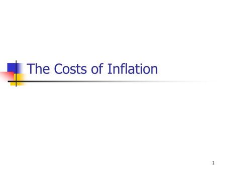 1 The Costs of Inflation 2 Wages and prices rise and fall together. Inflation does not erode real wages.