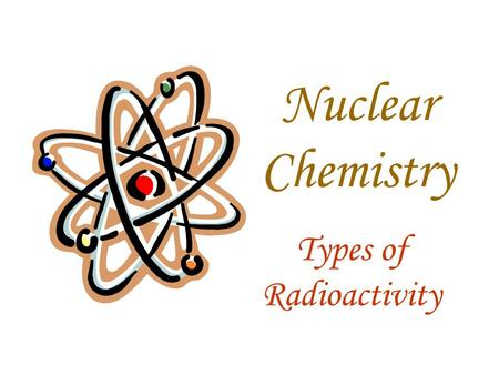 Nuclear Chemistry Types of Radioactivity. What is radioactivity? The emission of high energy particles from the nucleus of an atom.