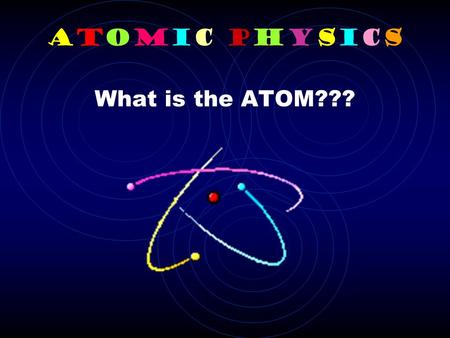 Atomic Physics What is the ATOM???. MATTER = ATOM All matter is composed of atoms. Atoms are the smallest part of an element that keeps that element's.
