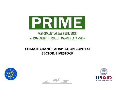 CLIMATE CHANGE ADAPTATION CONTEXT SECTOR: LIVESTOCK.