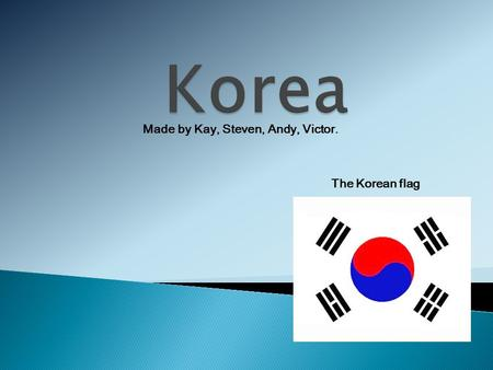 The Korean flag Made by Kay, Steven, Andy, Victor.