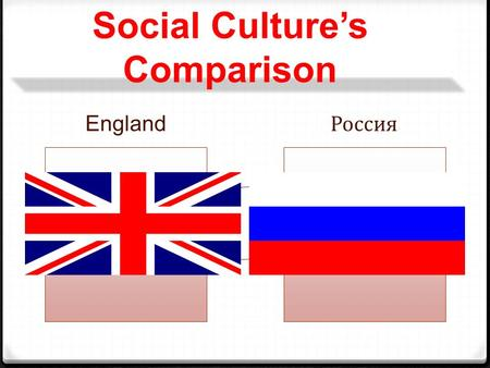 "Social Culture's Comparison England Россия. ""Culture is the collective programming of the mind distinguishing the members of one group or category of."