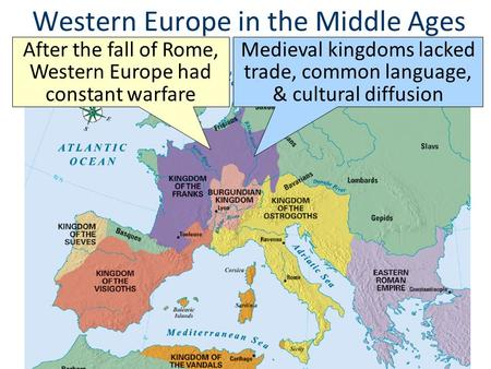 Western Europe in the Middle Ages After the fall of Rome, Western Europe had constant warfare Medieval kingdoms lacked trade, common language, & cultural.