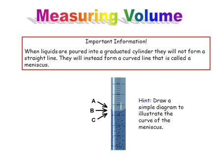 Important Information! When liquids are poured into a graduated cylinder they will not form a straight line. They will instead form a curved line that.
