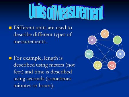 Different units are used to describe different types of measurements. Different units are used to describe different types of measurements. For example,
