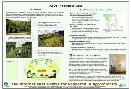 ICRAF in Southeast Asia ICRAF's Southeast Asian Regional Research Programme is developing alternatives to unsustainable slash-and-burn agriculture and.