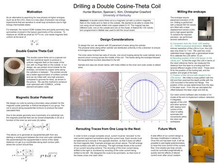 Drilling a Double Cosine-Theta Coil Hunter Blanton, Spencer L. Kirn, Christopher Crawford University of Kentucky Abstract: A double cosine theta coil is.