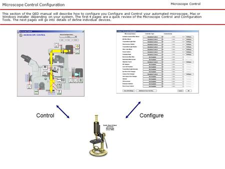 Microscope Control Configuration This section of the QED manual will describe how to configure you Configure and Control your automated microscope. Mac.