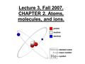 Lecture 3, Fall 2007. CHAPTER 2. Atoms, molecules, and ions.