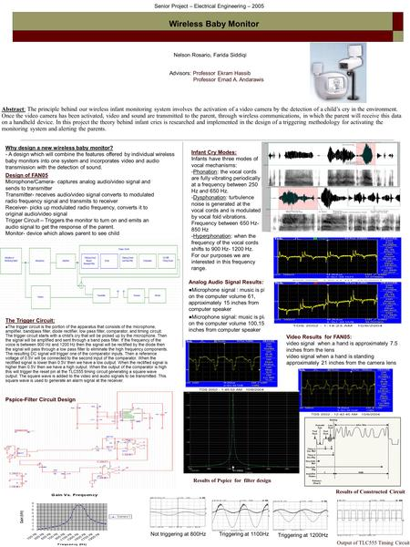 Senior Project – Electrical Engineering – 2005 Wireless Baby Monitor Nelson Rosario, Farida Siddiqi Advisors: Professor Ekram Hassib Professor Emad A.