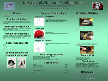 University of Wisconsin Medflight Helmet Pat Schenk-Team Leader, Ben Roedl-BWIG, Brett Mulawka-Communications, Richard Long-Asst, Leader, Mike Oldenburg-BSAC.