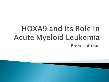Brent Hoffman. HOXA9 is one of the HOX transcription factors regulating Anterior to Posterior patterning in early development.