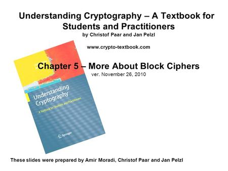 Understanding Cryptography – A Textbook for Students and Practitioners by Christof Paar and Jan Pelzl www.crypto-textbook.com Chapter 5 – More About Block.