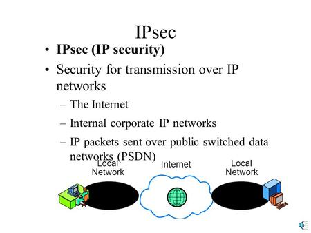 IPsec IPsec (IP security) Security for transmission over IP networks –The Internet –Internal corporate IP networks –IP packets sent over public switched.