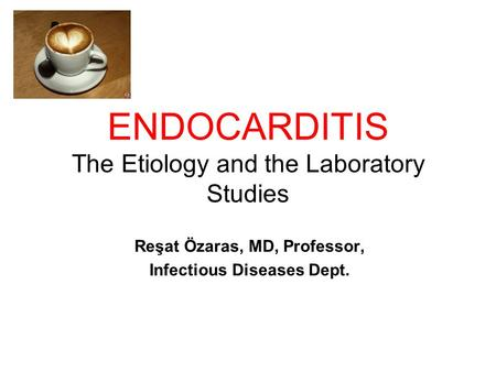 ENDOCARDITIS The Etiology and the Laboratory Studies Reşat Özaras, MD, Professor, Infectious Diseases Dept.