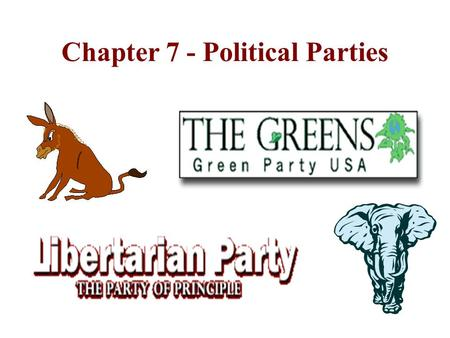 Chapter 7 - Political Parties Outgrowths of the Electoral Process Political parties, like interest groups, are organizations seeking to influence government.