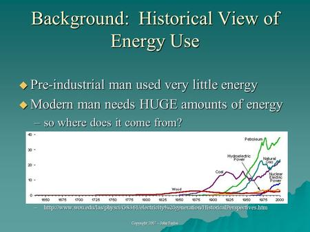 Copyright 2007 – John Sayles Background: Historical View of Energy Use  Pre-industrial man used very little energy  Modern man needs HUGE amounts of.