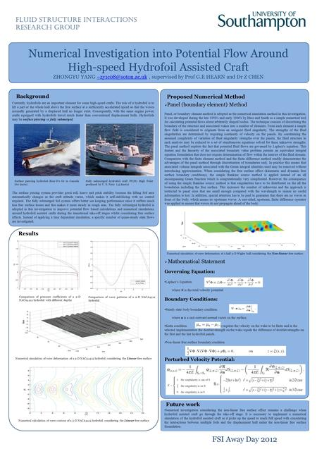 Numerical Investigation into Potential Flow Around High-speed Hydrofoil Assisted Craft ZHONGYU YANG supervised by Prof G.E HEARN and.