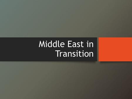 Middle East in Transition. Objectives Identify causes of the Arab Spring. Explore the role of social media in the uprising. Identify the connection to.