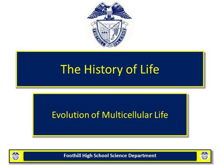 Foothill High School Science Department The History of Life Evolution of Multicellular Life.