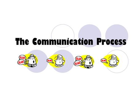 "The Communication Process What is a ""process""? Doing things in order."