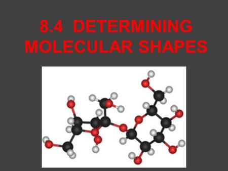 8.4 DETERMINING MOLECULAR SHAPES. THE MODEL WE WILL USE TO DETERMINE MOLECULAR SHAPE IS CALLED _________ (V_____________ S_________ E_____________ P________.