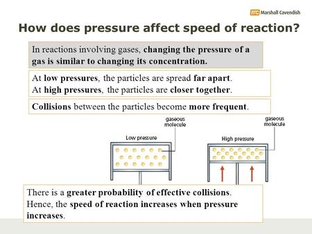 How does pressure affect speed of reaction? In reactions involving gases, changing the pressure of a gas is similar to changing its concentration. At low.