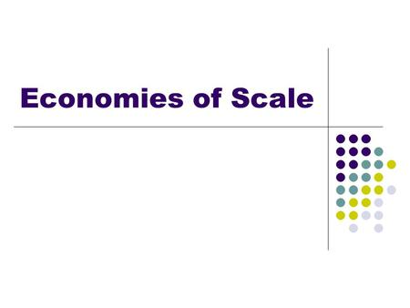 Economies of Scale. Lesson Objectives Understand internal and external economies of scale.