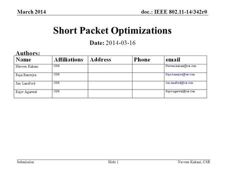 Doc.: IEEE 802.11-14/342r0 Submission March 2014 Naveen Kakani, CSRSlide 1 Short Packet Optimizations Date: 2014-03-16 Authors: