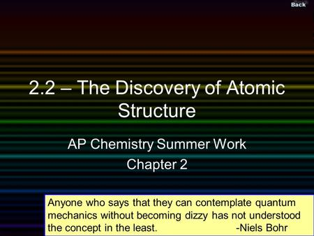 Back ©Bires, 2002 Slide 1 2.2 – The Discovery of Atomic Structure AP Chemistry Summer Work Chapter 2 Anyone who says that they can contemplate quantum.