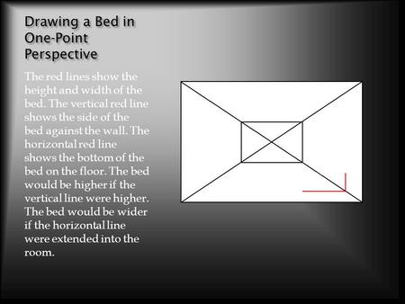 Drawing a Bed in One-Point Perspective The red lines show the height and width of the bed. The vertical red line shows the side of the bed against the.