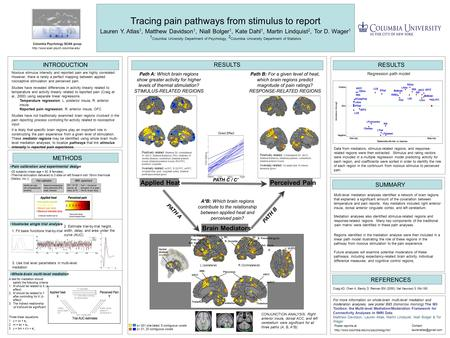 Tracing pain pathways from stimulus to report Lauren Y. Atlas 1, Matthew Davidson 1, Niall Bolger 1, Kate Dahl 1, Martin Lindquist 2, Tor D. Wager 1 1.