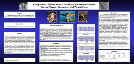 Comparison of Bone Mineral Density in Adolescent Female Soccer Players, Swimmers, and Weightlifters Materials and Methods Subjects recruited were females.