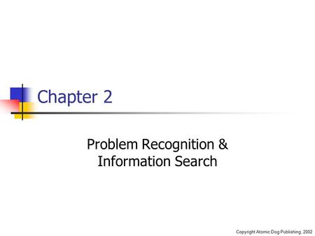 Copyright Atomic Dog Publishing, 2002 Chapter 2 Problem Recognition & Information Search.