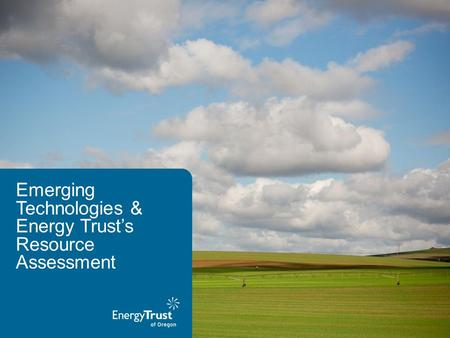 Emerging Technologies & Energy Trust's Resource Assessment.
