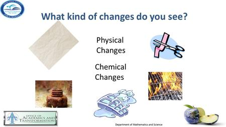 What kind of changes do you see? Physical Changes Chemical Changes.