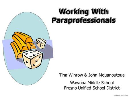 Working With Paraprofessionals Tina Winrow & John Mouanoutoua Wawona Middle School Fresno Unified School District WinNim CARS+ 2008.
