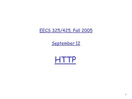1 HTTP EECS 325/425, Fall 2005 September 12. 2 Chapter 2: Application layer r 2.1 Principles of network applications m app architectures m app requirements.