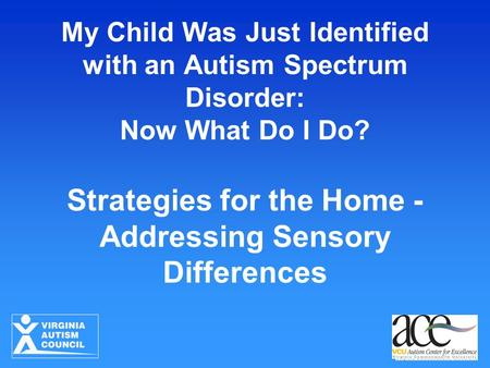 My Child Was Just Identified with an Autism Spectrum Disorder: Now What Do I Do? Strategies for the Home - Addressing Sensory Differences.